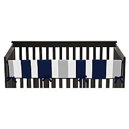 Sweet Jojo Designs Long Crib Rail Guard Covers in Navy/Grey Stripe