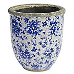 A&B Home Floral Round Ceramic Indoor/Outdoor 9-Inch Planter in Blue/White