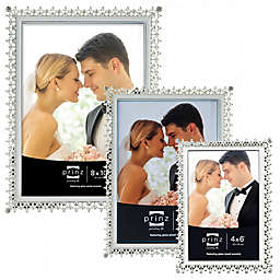 Elegance Silver-Plated Metal Picture Frame with Enamel Inlay and Jewels
