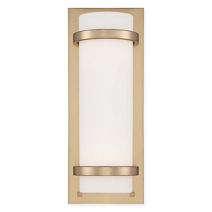 Alternate image 1 for Minka Lavery® 2-Light Wall Sconce in Honey Gold with Etched Opal Glass Cylinder Shade