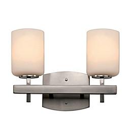 Bel Air Ridge Rail 2-Light Semi Flush-Mount Vanity Light in Polished Chrome with Glass Shade