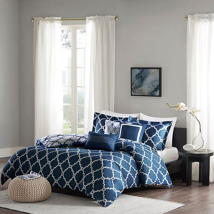 Alternate image 1 for Madison Park Merritt Reversible Full/Queen Duvet Cover Set in Navy