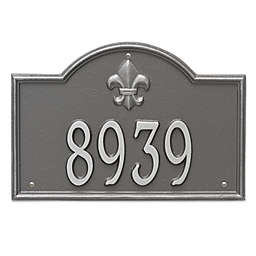 Whitehall Products Bayou Vista Standard 1-Line House Numbers Plaque in Pewter/Silver