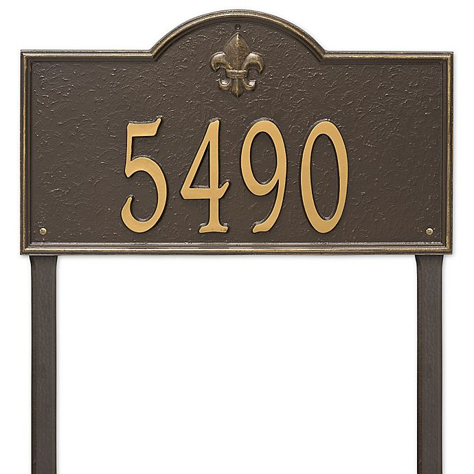 Alternate image 1 for Whitehall Products Bayou Vista Estate Lawn House Numbers Plaque in Bronze/Gold