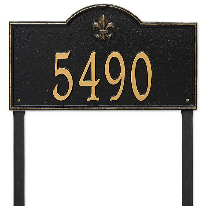 Alternate image 1 for Whitehall Products Bayou Vista Estate Lawn House Numbers Plaque in Black/Gold