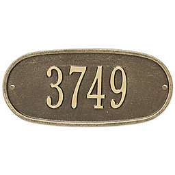 Whitehall Products Oval 1-Line Standard Wall Plaque in Antique Brass