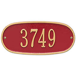 Whitehall Products Oval 1-Line Standard Wall Plaque in Red/Gold