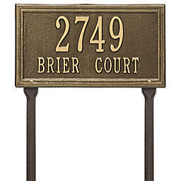 Whitehall Products Double Line Standard Lawn Plaque in Antique Brass