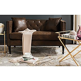 Safavieh Sarah Tufted Settee with Pillows in Vintage Brown