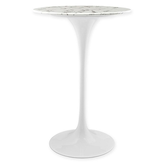Modway Lippa Faux Marble Top Round Bar Table In White