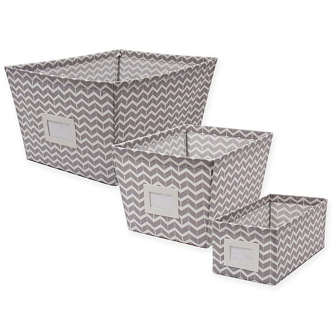 Alternate image 1 for Canvas Storage Bin with Chevron Print