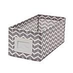 Small Canvas Storage Bin with Chevron Print in Grey