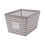 Medium Canvas Storage Bin with Chevron Print in Grey