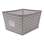 Large Canvas Storage Bin with Chevron Print in Grey