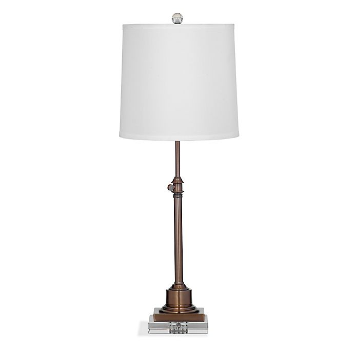 Bassett Mirror Company Ingram Table Lamp In Bronze With Fabric Shade