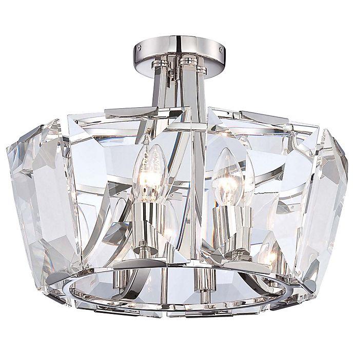 Alternate image 1 for Castle Aurora 8-Light Semi-Flush Chandelier in Polished Nickel
