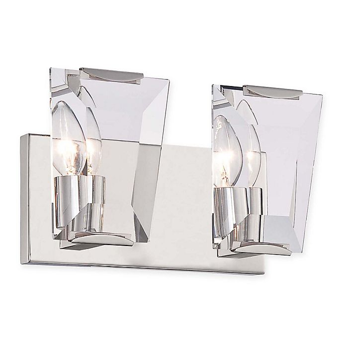 Alternate image 1 for Castle Aurora 2-Light Bathroom Wall Sconce in Polished Nickel
