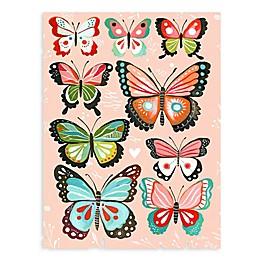 GreenBox Art Pink Butterflies 18-Inch x 24-Inch Wheatpaste Poster Wall Art