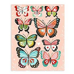 GreenBox Art Pink Butterflies 28-Inch x 35-Inch Wheatpaste Poster Wall Art