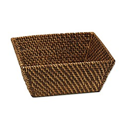 Baum Atlantic Hapao Rattan Vanity Bin in Brown