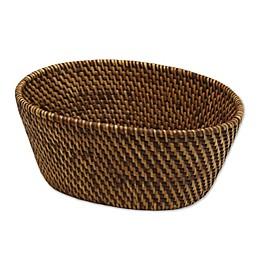 Baum Atlantic Hapao Rattan Oval Vanity Basket in Brown