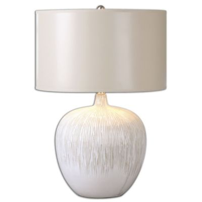 Uttermost Georgios Table Lamp In White With Round Drum Shade by Bed Bath And Beyond