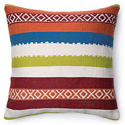 Loloi South West Bands Square Down Throw Pillow in White