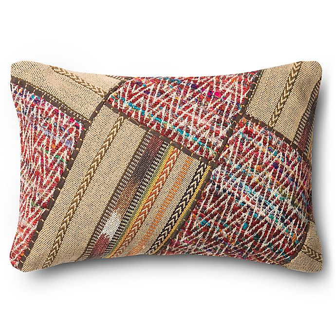 Alternate image 1 for Loloi Pieced Aztec Rectangle Throw Pillow in Beige