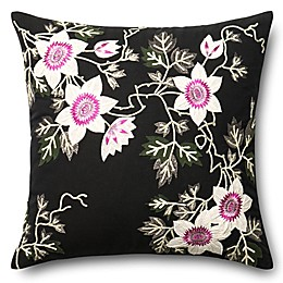 Loloi Floral Embroidery Square Throw Pillow in Black/Ivory