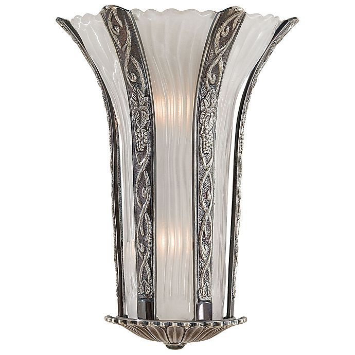 Alternate image 1 for Metropolitan® 2-Light Wall Sconce in Platinum with White Murano Glass Shade