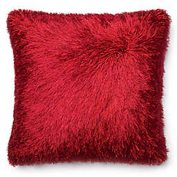 Loloi Shag Square Throw Pillow in Red