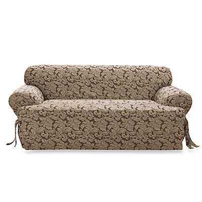 Scroll Brown Damask T Cushion Slipcovers By Sure Fit Bed Bath