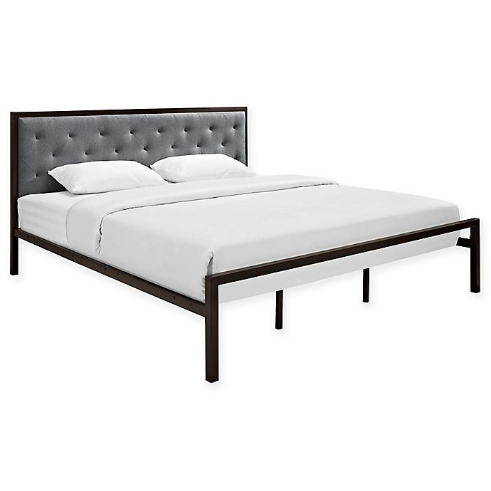 Alternate image 1 for Modway Mia Fabric King Bed Frame in Grey