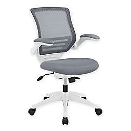 Modway Edge White Base Office Chair in Grey