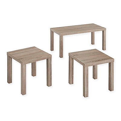 Forest Gate 3-Piece Contemporary Wood Coffee Table Set in Black