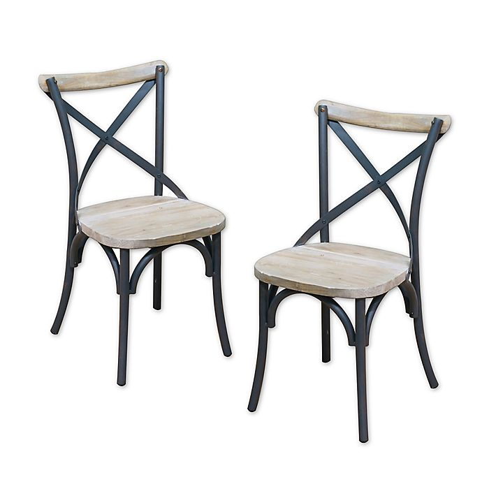 Alternate image 1 for Forest Gate Reclaimed Wood/Metal Dining Chairs (Set of 2)