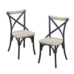 Forest Gate Reclaimed Wood/Metal Dining Chairs (Set of 2)