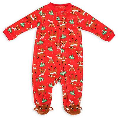 Rudolph Zip-Up Sleep 'N Play Footie in Red