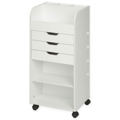 Honey Can Do Rolling Craft Storage Cart With 3 Drawers In White Bed Bath Beyond