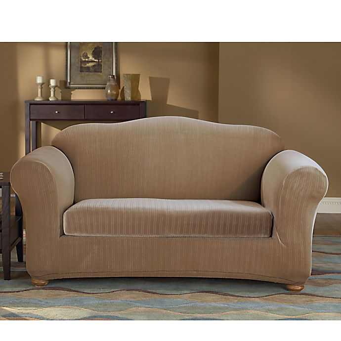 Alternate image 1 for Sure Fit® Stretch Pinstripe 2-Piece Loveseat Slipcover in Taupe