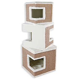 TRIXIE Pet Products Lilo Modular 3-Story Cat Tower in White/Brown