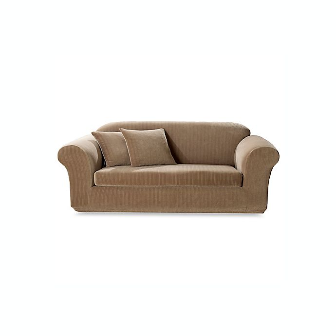 Alternate image 1 for Sure Fit® Stretch Pinstripe 2-Piece Sofa Slipcover in Taupe