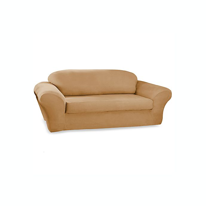 Sure Fit Stretch Suede 2 Piece Sofa Cover In Camel Bed Bath Beyond