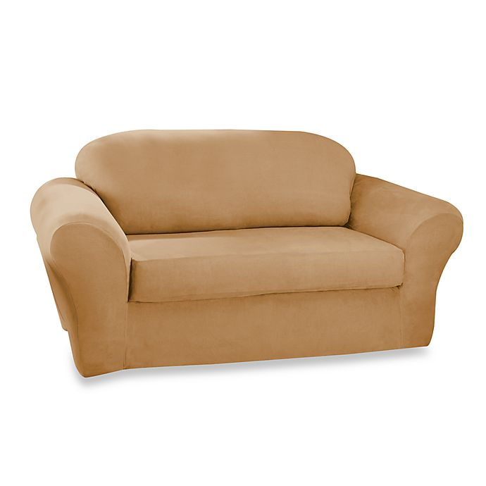 Sure Fit Stretch Suede 2 Piece T Cushion Sofa Cover In Camel