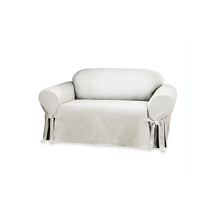 Enjoyable Sure Fit Duck Supreme Cotton Loveseat Slipcover In White Dailytribune Chair Design For Home Dailytribuneorg