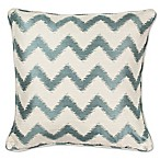 KAS Chevron 18-Inch Square Throw Pillow in Ivory/Light Blue