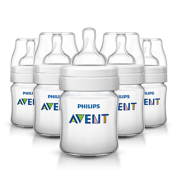 Alternate image 1 for Philips Avent 4 oz. Anti-Colic 5-Pack Bottles in Clear