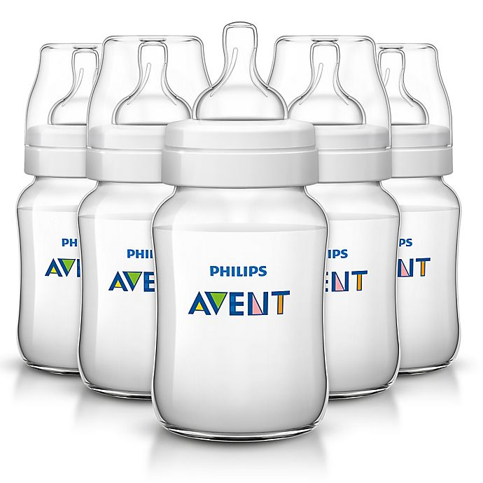 Alternate image 1 for Philips Avent 9 oz. Anti-Colic 5-Pack Bottles in Clear