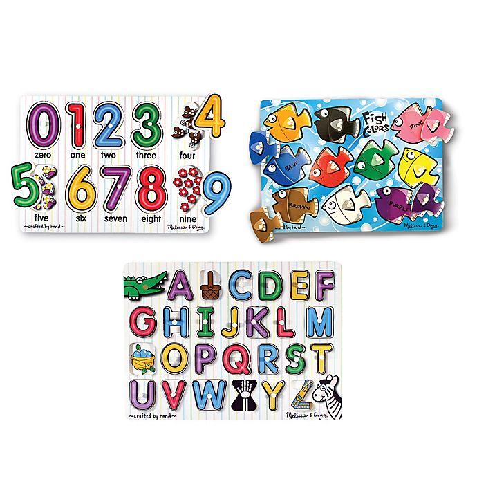 Alternate image 1 for Melissa & Doug® Classic Peg Puzzle Bundle (Set of 3)