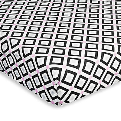Jonathan Adler® Crafted by Fisher-Price® Diamond Fitted Crib Sheet in Pink/Black